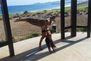Yoga Retreat Secrets Puerto Los Cabos - Michelle in Inversion! Calgary travel vacation experience with a group of people. Get out of town to enjoy the sunshine, daily meals, yoga classes, and accommodation.